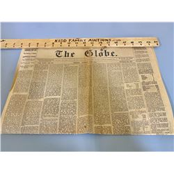 1867 EDITION OF THE GLOBE NEWSPAPER - JULY 1ST - TORONTO