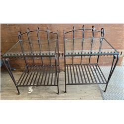 SET OF 2 WROUGHT IRON END TABLES W/ GLASS TOPS