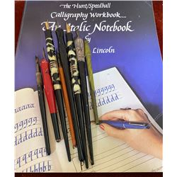 LOT OF 8 FOUNTAIN PENS W / CALLIGRAPHY REFERENCE BOOK