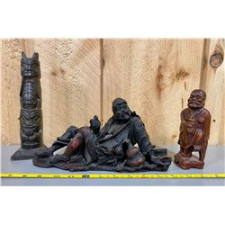 LOT OF 3 CARVED FIGURINES