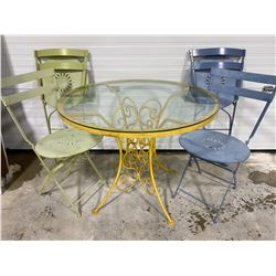 WROUGHT IRON PAINTED PATIO SET - GLASS TOP W/ 4 CHAIRS
