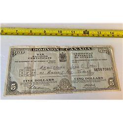 1942 DOMINION OF CANADA WAR SAVINGS CERTIFICATE - 5 DOLLAR VALUE