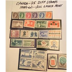 1950-60's CANADIAN STAMPS - 25 TOTAL