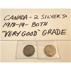 LOT OF 2 CND SILVER 5 CENTS - 1918 - 1919