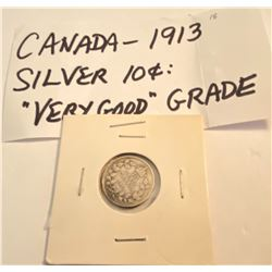 1913 CND SILVER 10 CENT COIN