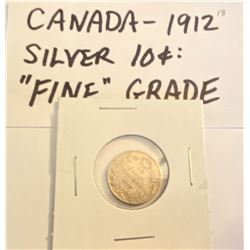 1912 CND SILVER 10 CENT COIN