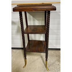 TWIST LEG, BRASS FOOT, TILE TOP PLANT STAND