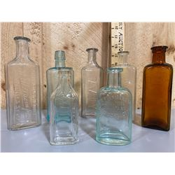 LOT OF 7 ANTIQUE APOTHECARY BOTTLES FROM A TORONTO HOSPITAL PHARMACY