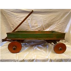 ANTIQUE CHILDRENS WAGON WITH WOOD WHEELS