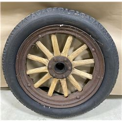 """OLD WOODEN SPOKED WHEEL & TIRE -20"""""""