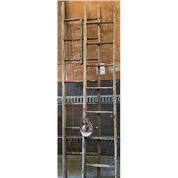 2 SINGLE RUNG WOOD LADDERS & ANTIQUE PULLEY