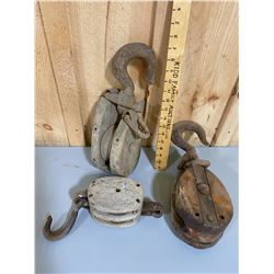 LOT OF 3 INDIVIDUAL DESIGN ANTIQUE PULLEYS
