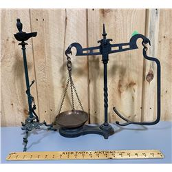 ANTIQUE CAST COUNTER TOP SCALE & CANDLE HOLDER ?
