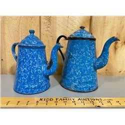 LOT OF 2 BLUE ENAMEL COFFEE POTS
