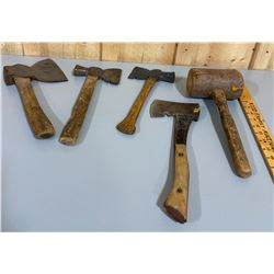 LOT OF 5 HATCHETS / AXES / MALLETS