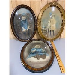 LOT OF 3 ANTIQUE FRAMED PORTRAITS WITH CONVEX GLASS