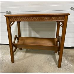 ANTIQUE WOOD SIDE TABLE WITH MAGAZINE RACK