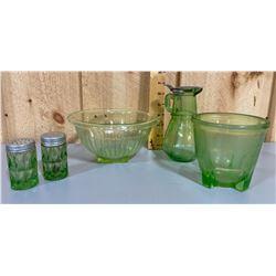 LOT OF GREEN VASELINE GLASSWARE - DEPRESSION ERA
