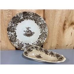 LOT OF 2 FURNIVAL MAPLE BEAVER LEAF PATTERN CHINA DISHES