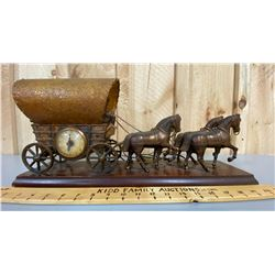 VINTAGE COPPER CHUCK WAGON DISPLAY WITH CLOCK & LAMP