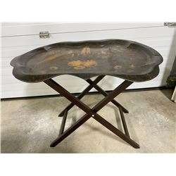 ANTIQUE TRAY TOP BUTLERS TABLE WITH INTERCHANGEABLE TRAYS