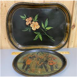 LOT OF 2 VINTAGE TRAYS - ONE WITH UNION JACK HISTORY SCENE
