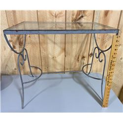 WROUGHT IRON / GLASS SIDE TABLE