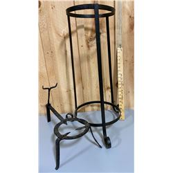WROUGHT IRON PLANT STAND & LOG HOLDER ?