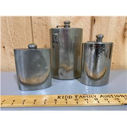 LOT OF 3 FLASKS INCLUDING ONE ENGLISH PEWTER
