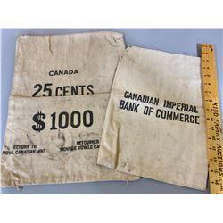 LOT OF 2 CANVAS MONEY SACKS