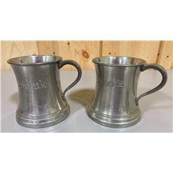 LOT OF 2 'SHILLING' GLASS BOTTOM' PEWTER TANKARD MUGS