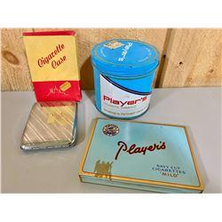 CIGARETTE CASE W/ ORIG BOX & 2 X VINTAGE TOBACCO TINS