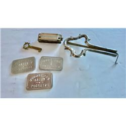LOT OF COLLECTIBLES INCLUDING DAIRY TOKENS,  HARMONICA, ETC