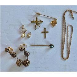 MISC GOLD JEWELRY LOT