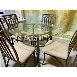 WROUGHT IRON & GLASS DINING TABLE WITH 4 CHAIRS