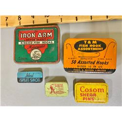 LOT OF VINTAGE FISH HOOK TINS WITH CONTENTS