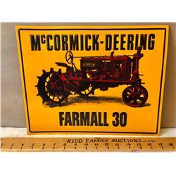 MCCORMICK-DEERING FARMALL 30 TIN SIGN - 1992