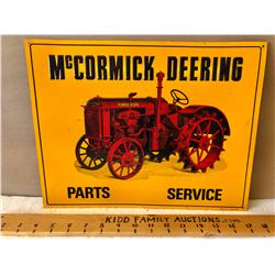 1992 MCCORMICK-DEERING PARTS SERVICE TIN SIGN