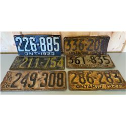 MISC ONTARIO LICENCE PLATES - 1923/25/26/27/28/29