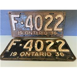 PAIR OF 1936 ONTARIO LICENCE PLATES