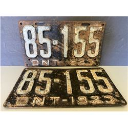 PAIR OF 1923 ONTARIO LICENCE PLATES