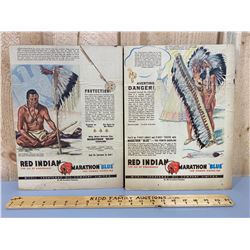 SET OF 1955 RED INDIAN / MARATHON BLUE ADVERTISEMENTS
