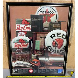 FRAMED TEXACO -'THRU THE YEARS' POSTER
