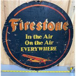 FIRESTONE TIRES AVIATION DBL SIDED CARDBOARD SIGN