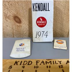 GAS / OIL ADVERTISING COLLECTIBLES - BA, GULF, KENDAL