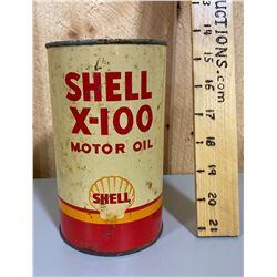 SHELL X-100 MOTOR OIL TIN - 1 FULL QT