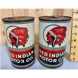 LOT OF 2 RED INDIAN MOTOR OIL TINS - 1 QT SIZE