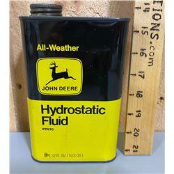 JOHN DEERE HYDROSTATIC FLUID TIN - FULL 32 OZ SIZE