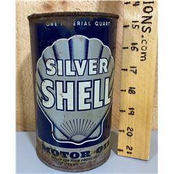 SHELL SILVER MOTOR OIL TIN - 1 QT SIZE