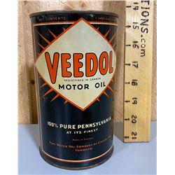 VEEDOL OIL TIN - 1 QT SIZE